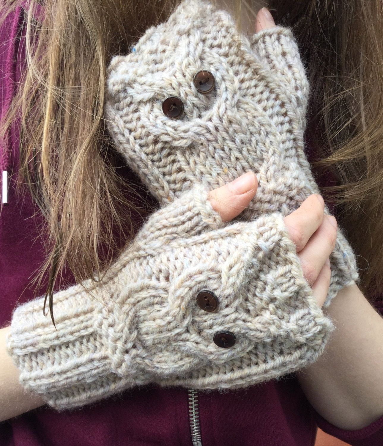 Knit Owl Cable Fingerless Gloves Pattern   PDF PATTERN PLAY Owl ...