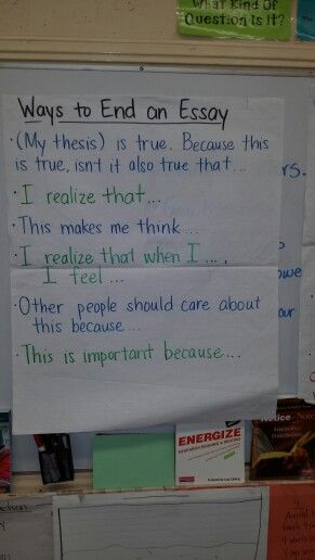 Ways to end a personal essay anchor chart knolegde Pinterest - personal essay