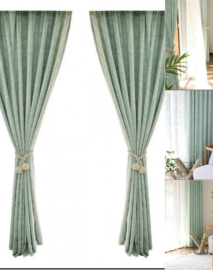 Leaf Mint Green Curtains Bay Window