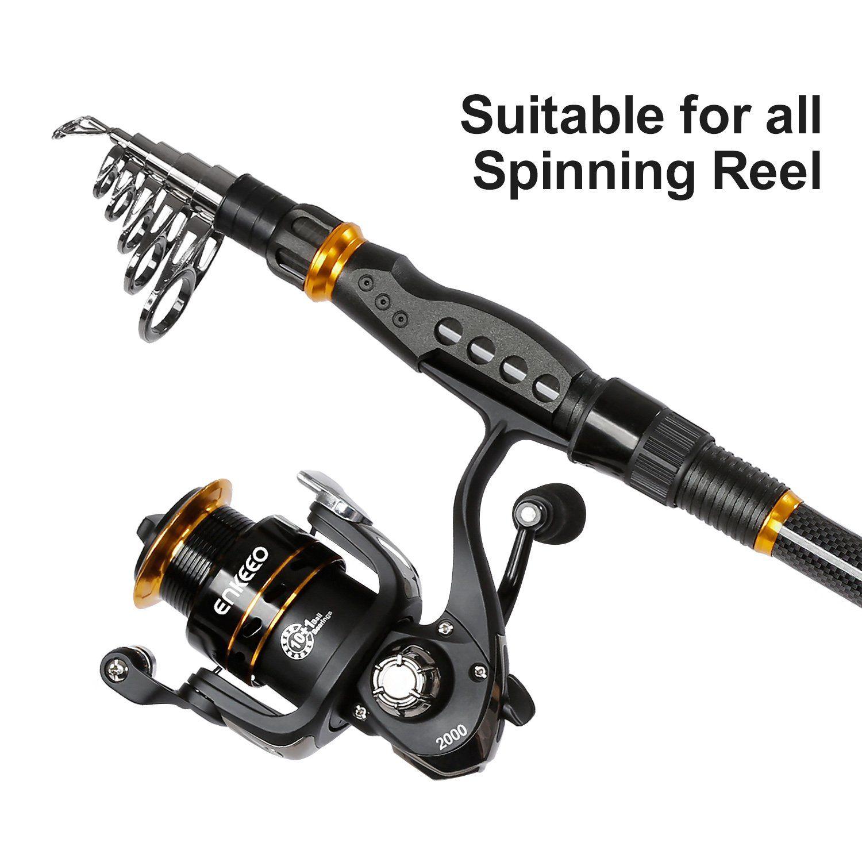 ENKEEO Fishing Rod Carbon Fiber Telescopic Fishing Pole for