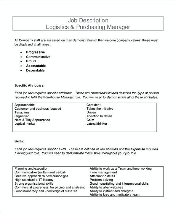 Job Description Logistics Purchasing Manager Template  Purchasing
