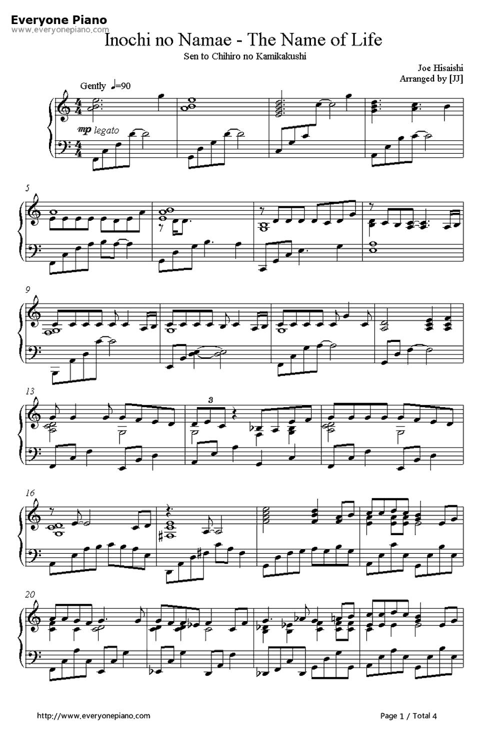 Free Inochi No Namae The Name Of Life Spirited Away Theme Sheet Music Preview 1 Sheet Music Piano Songs Sheet Music Piano Music