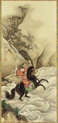 Xuande (Gentoku) Crossing the Tan Gorge 玄徳越壇渓図 Japanese, Meiji era, latter half of the 19th century Kano Shogyoku, Japanese, 1840–1891, Hanging scroll; Ink and color on silk, MFA