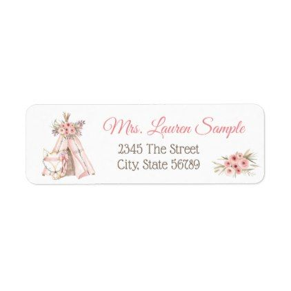 Teepee Fox Tribal Baby Shower Return Address Label  Tribal Baby