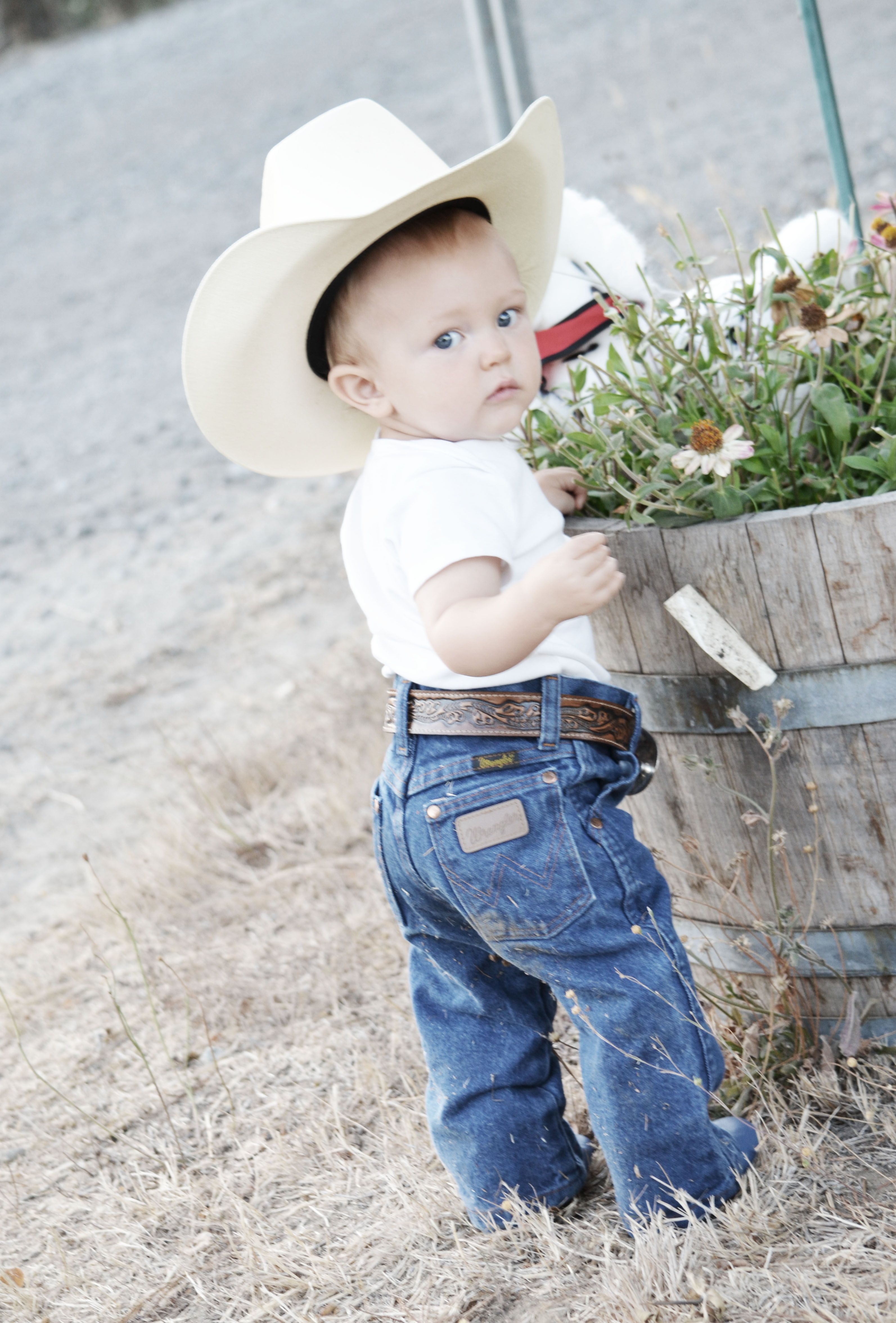 baby wrangler butt cowboy hat kiddo and his pony