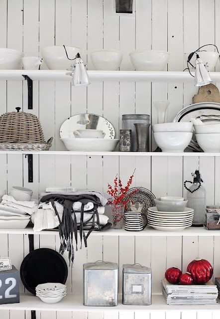 a collection of red, white, gray, and black colors in a rustic industrial theme