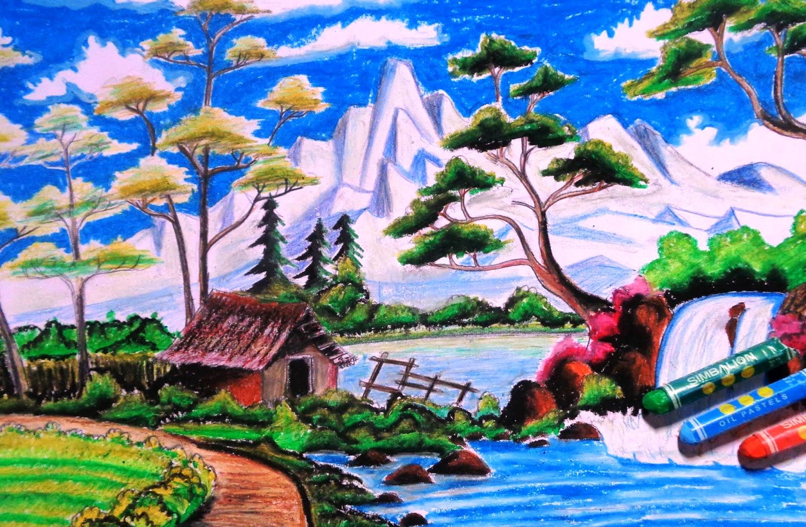 Sketsa Gambar Pemandangan Krayon