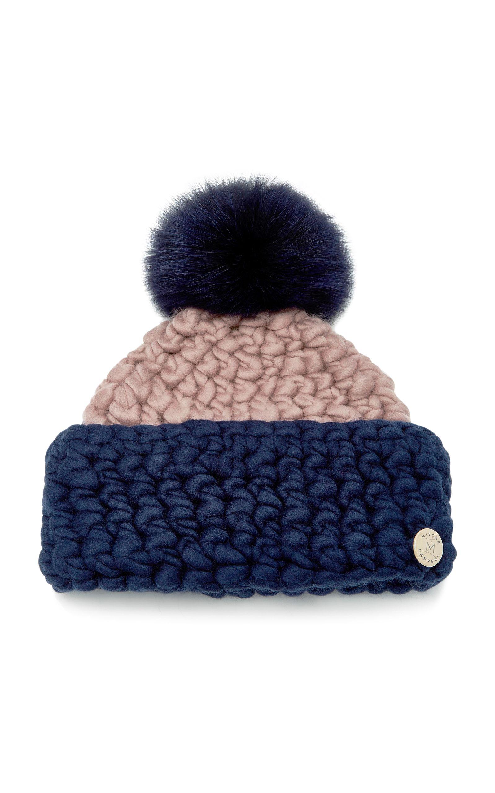 Striped Fox Fur-Trimmed Merino Wool Beanie Mischa Lampert QEsrufGR7j