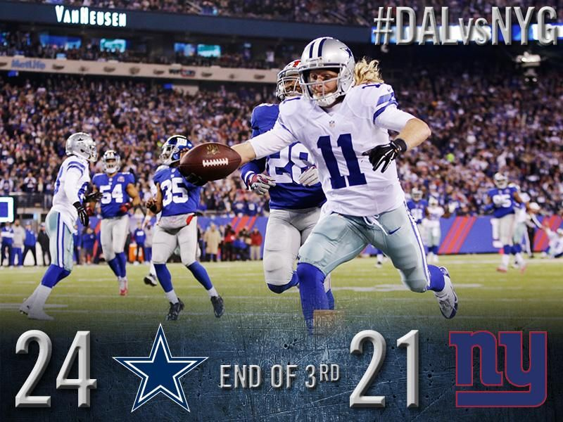 Cowboys lead 2421 at the end of the third DALvsNYG