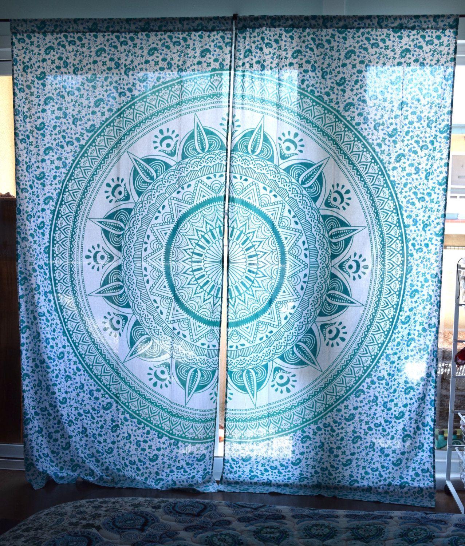 Mandala Tapestry Curtains Boho Drapes Wall Hanging