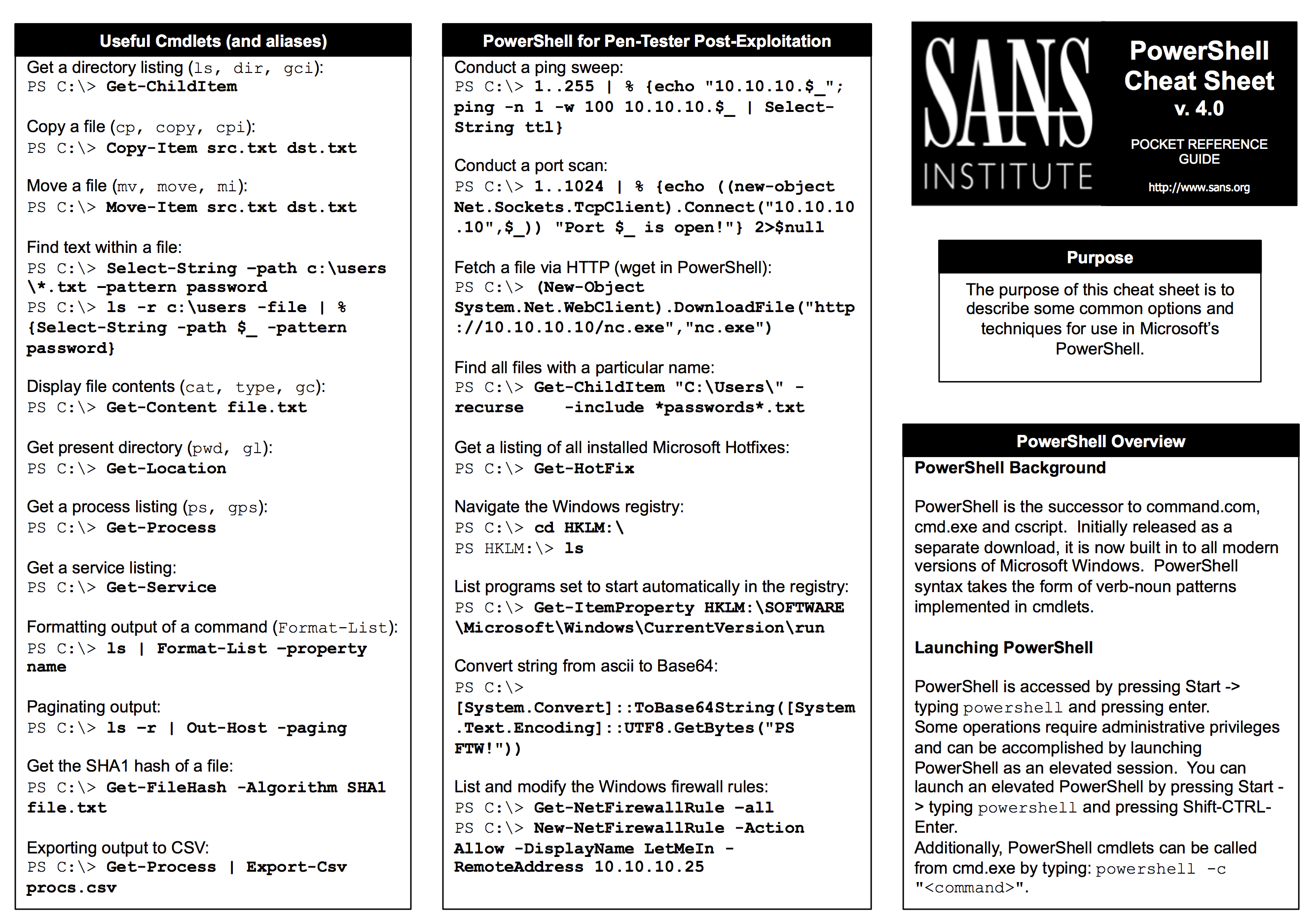 SANS Penetration Testing | SANS PowerShell Cheat Sheet from