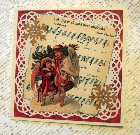 Christmas carol from old songbook. Angel sticker