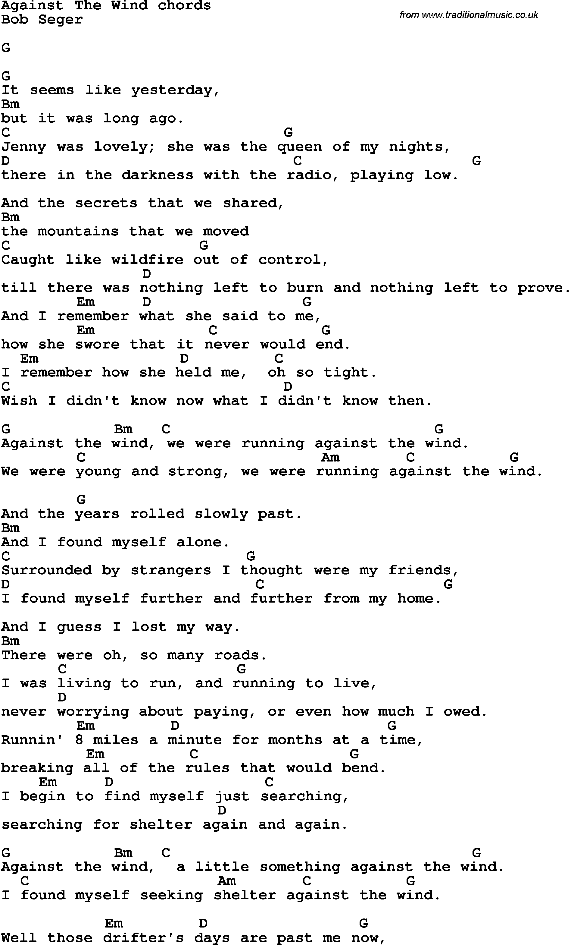 Song Lyrics With Guitar Chords For Against The Wind