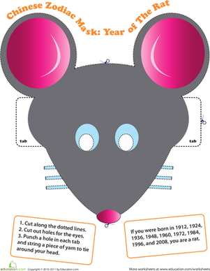 Make a Chinese Zodiac Mask: Year of the Rat | 勞作美術 | Chinese