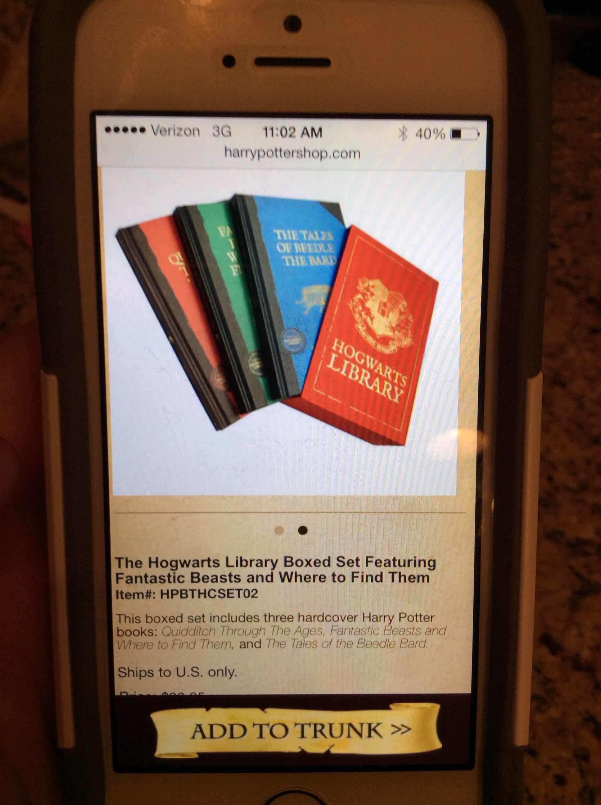 Real harry potter books from hogwarts!!you can get it at pottershop.com and it's $29.95