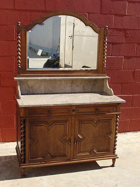 Antique Furniture French Antique Marble Top Barley Twist Washstand Dresser 19001910  Antiques