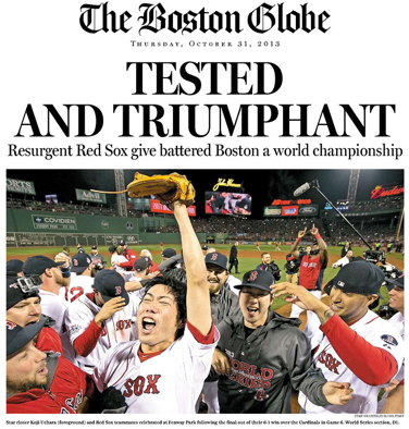 See the newspaper front pages in Boston and St  Louis