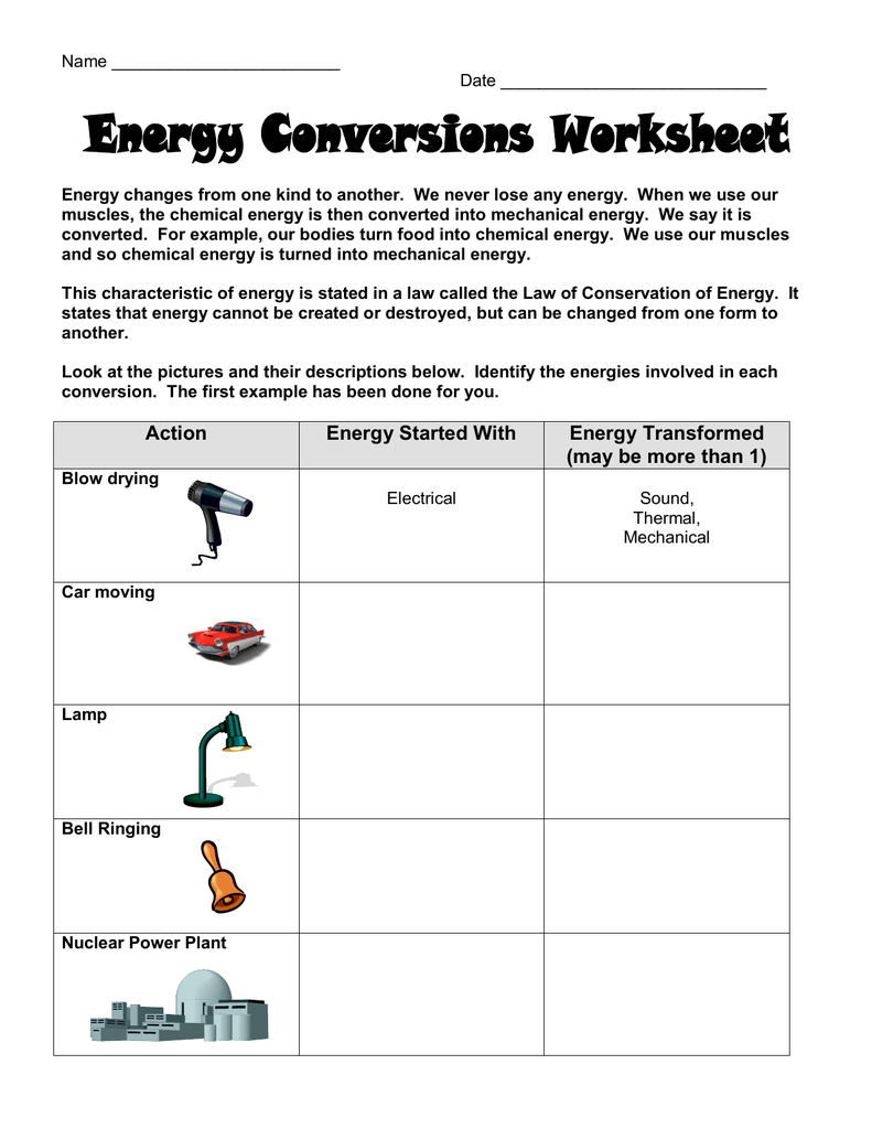 Worksheet On Energy Transformation Google Search Energy Transformations Chemical Energy Energy