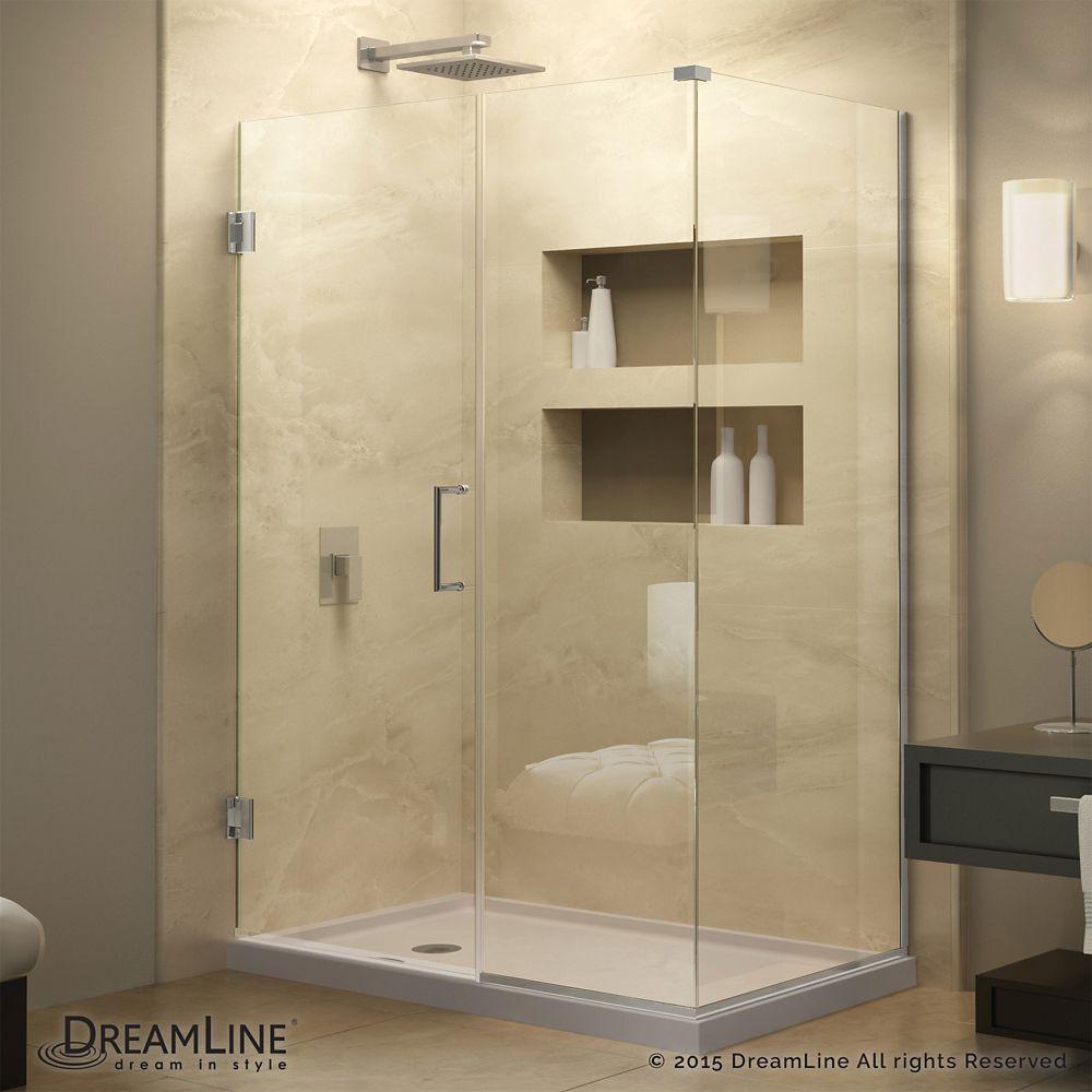 Unidoor Plus 34-3/8-inch x 38-1/2-inch x 72-inch Hinged Shower ...