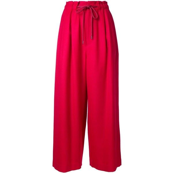 En Route cropped wide leg trousers (310 ILS) ❤ liked on Polyvore featuring pants, capris, red, wool trousers, pink pants, red crop pants, wool pants and pink wide leg trousers