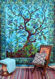 Tree of life tapestry wall hanging bohemian dorm room queen bedding blanket images