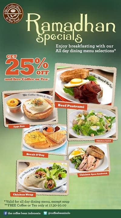 Get Disc 25 Off And Free Coffee Or Tea For All Day Dining Menu Selections 05 30 08pm At The Bean
