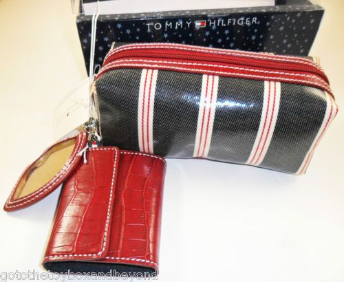 New Tommy Hilfiger Cosmetic Bag Contact Case Set Gift Navy Blue Makeup Key Chain