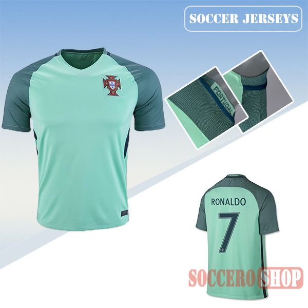 Latest Best Portugal Green 2016 2017 Away Soccer Jersey With Ronaldo 7  Printing  b5aa2e001