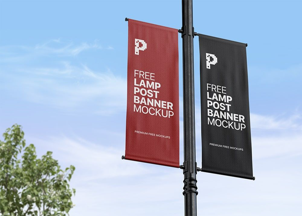 Free Lamp Post Pole Banner Mockup Psd Outdoor Advertising Design Banner Pole Banners