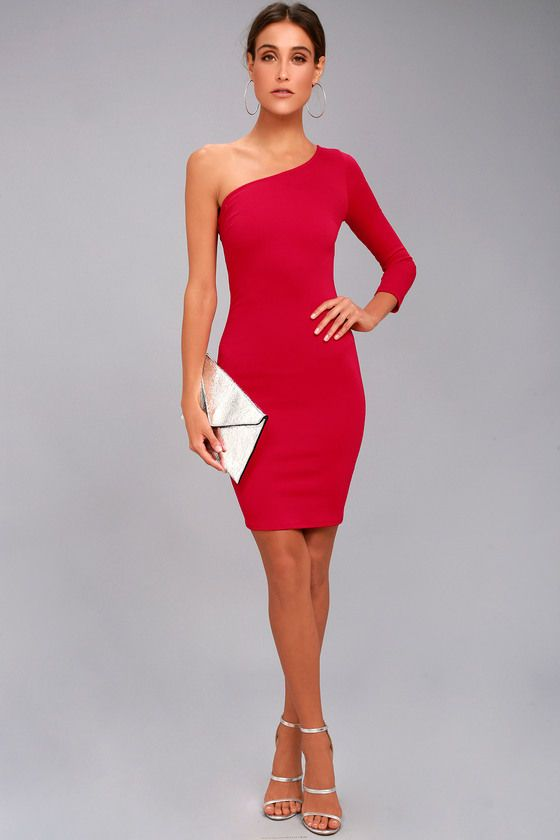 1481c42ccea Hello Lover Red One-Shoulder Bodycon Dress in 2019