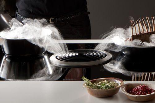 Hotte de cuisine integrée au plan de travail / avec éclairage