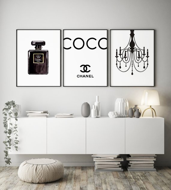 Digital Files A Set Of Three Coco Chanel Posters A Design Poster Is Ideal To Decorate Your Home And Its A Perfect Gif Chanel Wall Art Home Decor Chanel Room