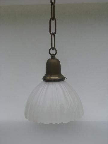 Wonderful Antique Solid Brass Pendant Light Fixture, Early 1900s Opalescent Milk Glass  Shade