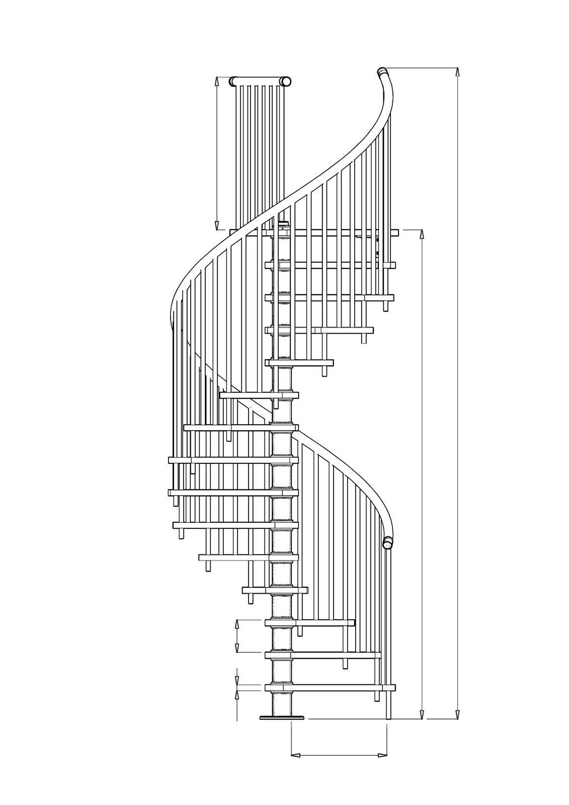 Varios planos en 2d de escaleras de caracol y en l for Planos de escaleras de hierro