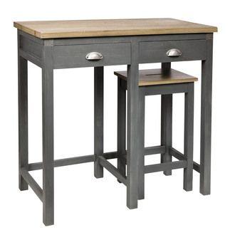 Ensemble Table Bar Et Tabouret ensemble table bar + 2 tabourets en bois exotique anthracite