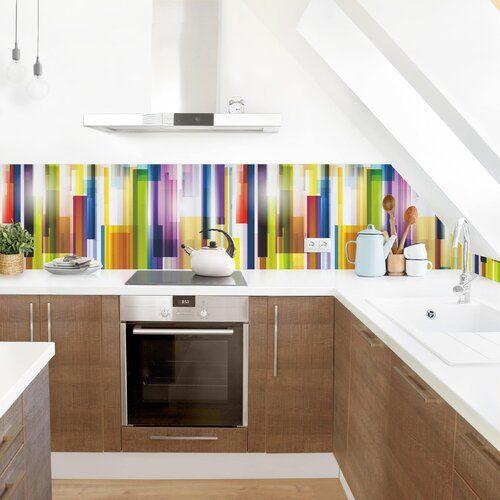 Photo of Ebern Designs PVC splash protection panel Azriel Rainbow Cubes | Wayfair.de