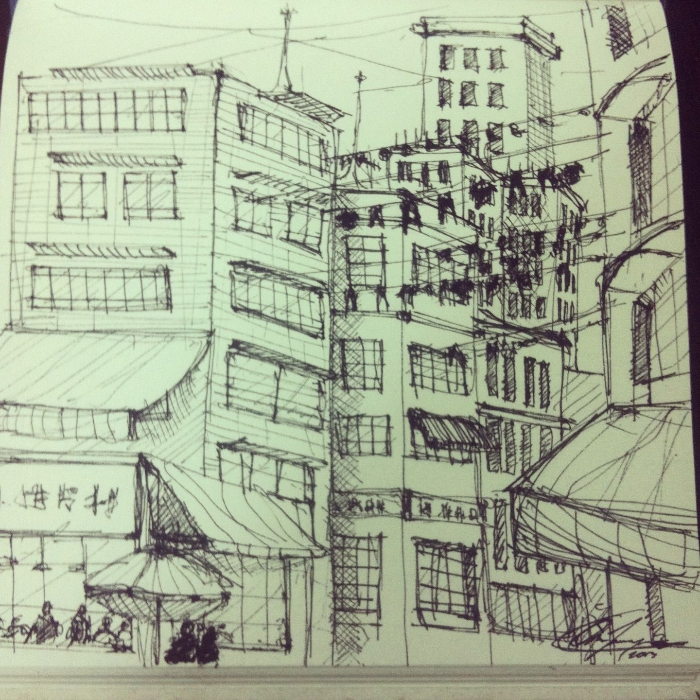 sketch book drawing city place shadows sky architecture mini
