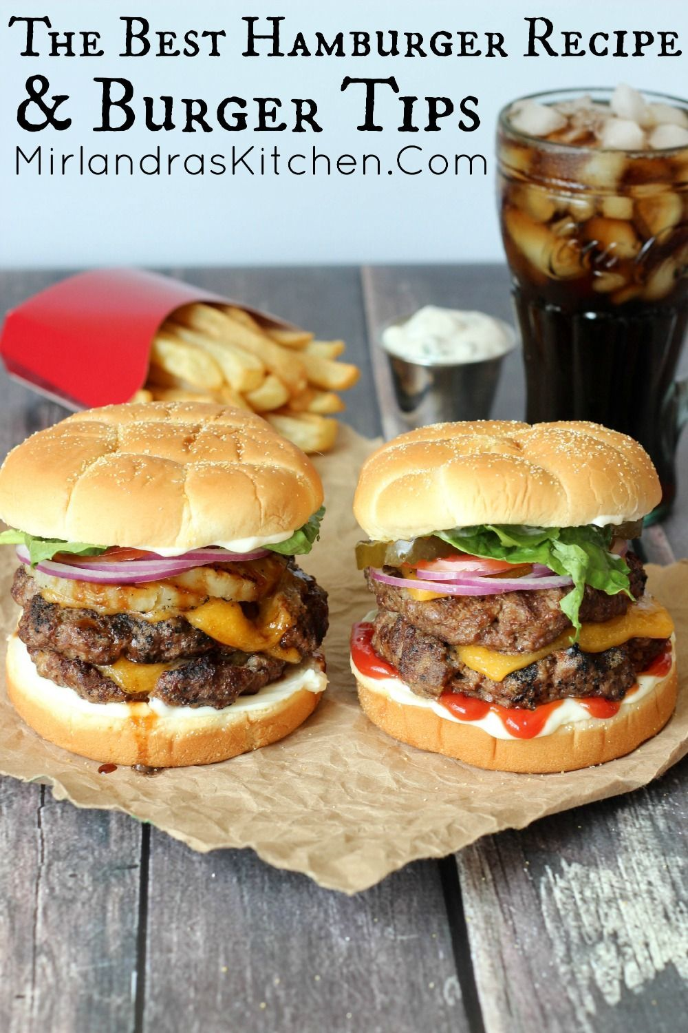Best Hamburger Recipe & Burger Tips This is the best hamburger recipe for juicy, tender burgers everybody loves.  My 9 easy hamburger making and grilling tips will have you making the perfect hamburgers all year.  Check out my easy tip for making the perfect patty without tools.  You can change this recipe up for pineapple / teriyaki burgers in a flash and