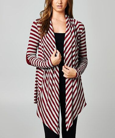 Look what I found on #zulily! Gray & Burgundy Stripe Open Cardigan #zulilyfinds