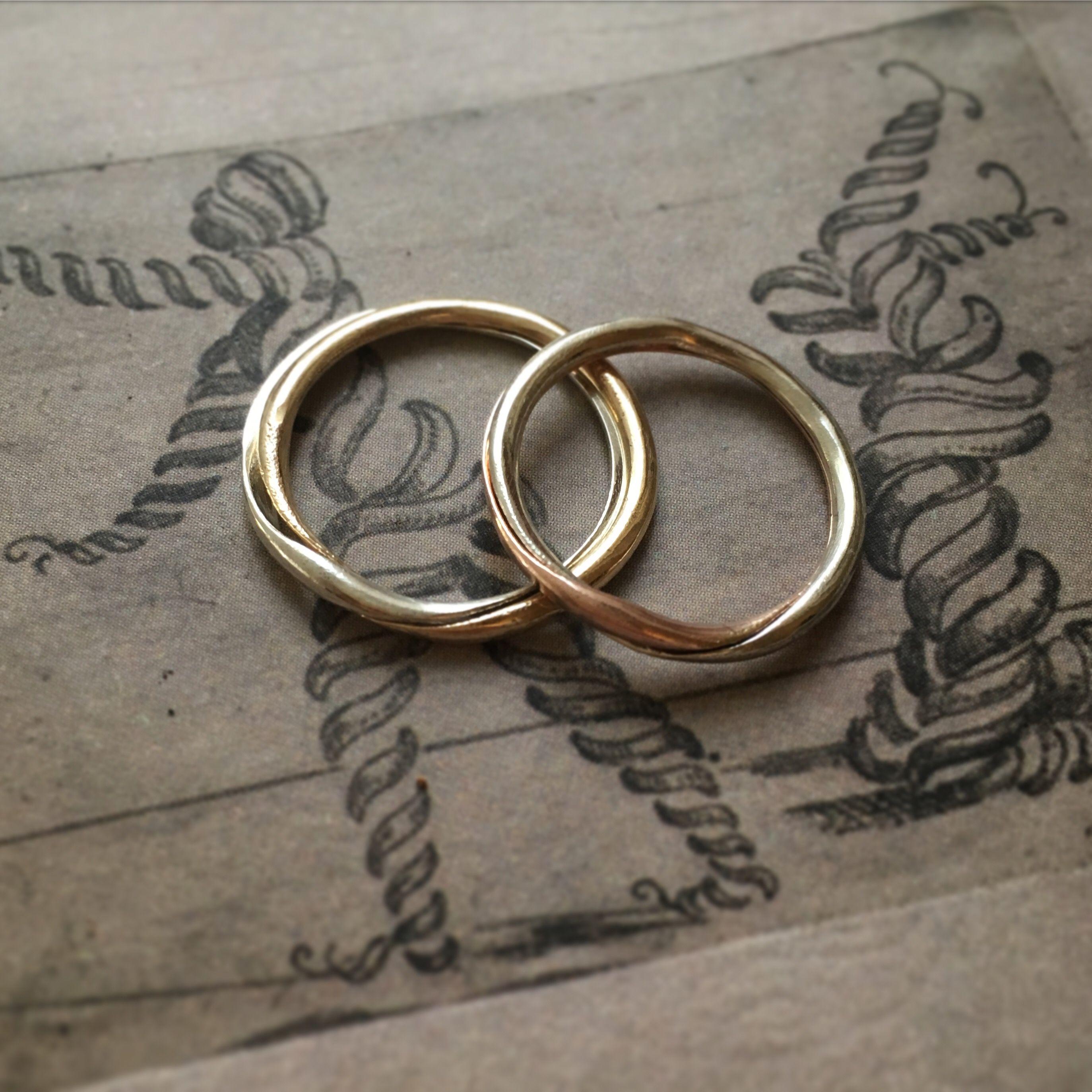Bicolour 9k gold gimmel ring antique wedding rings