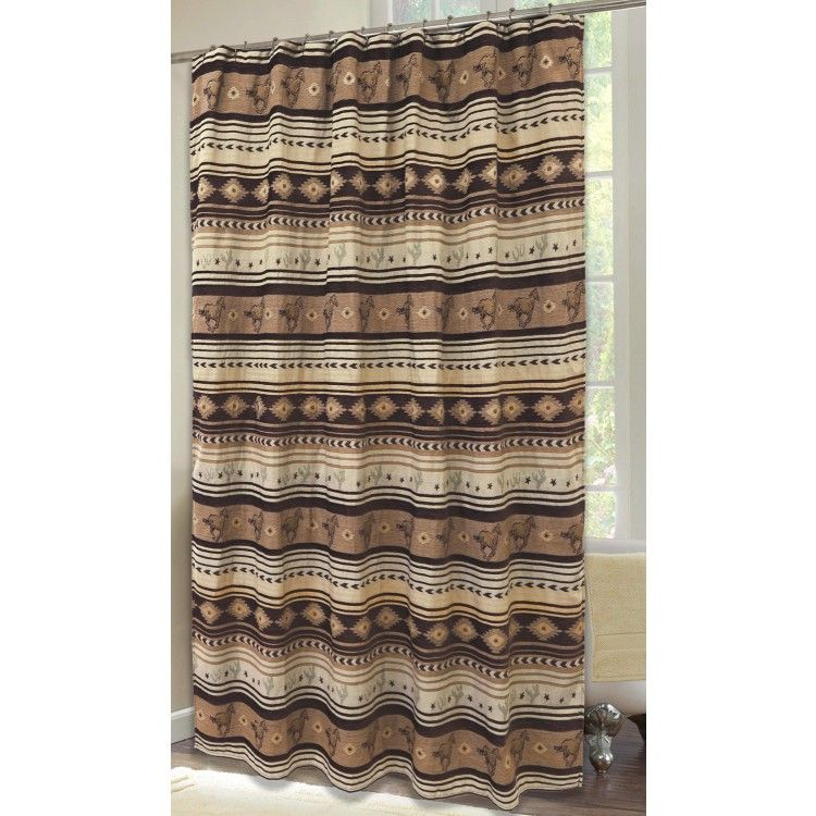 Brown Mustang Shower Curtain With Running Mustangs Stars Cacti And Horseshoe Patterns Western Shower Curtain Rustic Shower Curtains Cabin Shower Curtain