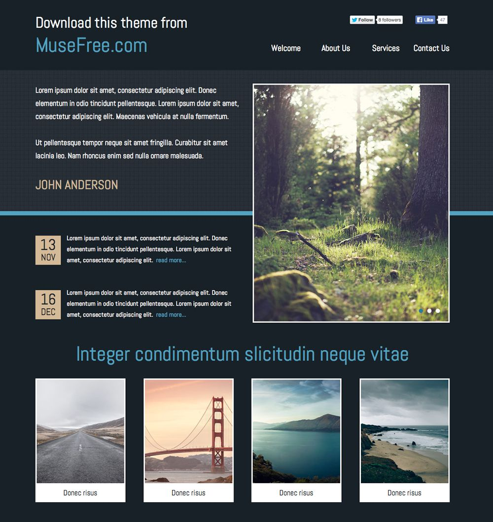 One Page Template For Adobe Muse By (With Images