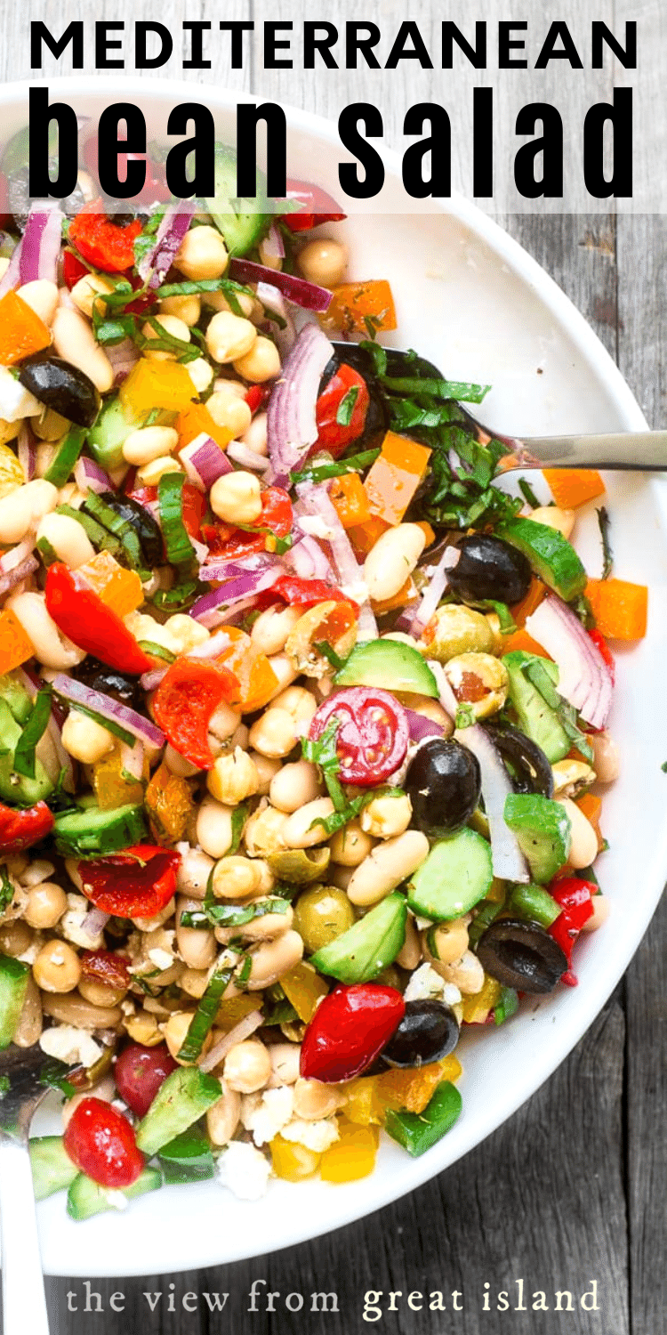Mediterranean Bean Salad is the perfect nomayo side salad for picnic and barbecue season plus it makes fabulous healthy packable lunches