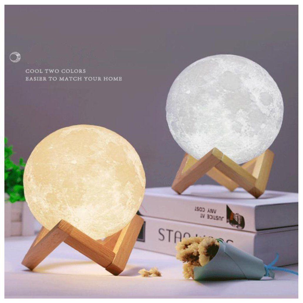 Threecat 3d Mondnachtlicht Nachtlampe Helligkeit Einstellen Farbe Andernde Led Ambient Tischleuchte Nachttischlampe Usb Wieder Mond Lampe Nachttischlampe Lampe