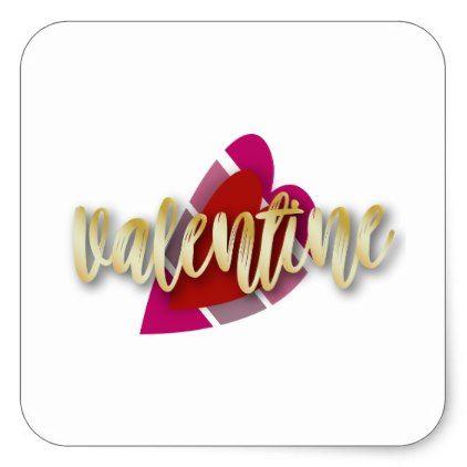 Pink And Red Striped Valentine Square Sticker  Saint ValentineS