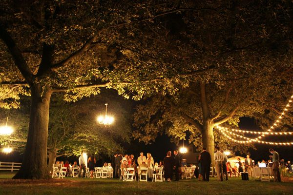 outdoor reception under lights and trees