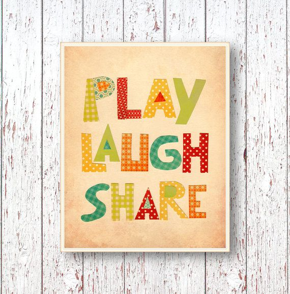 Play Laugh Share print - Blue green red yellow orange Art for ...