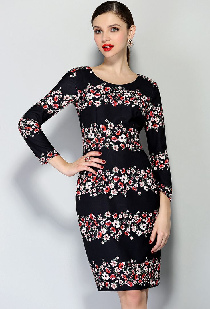 Black long sleeve floral bodycon dress casual chic pinterest