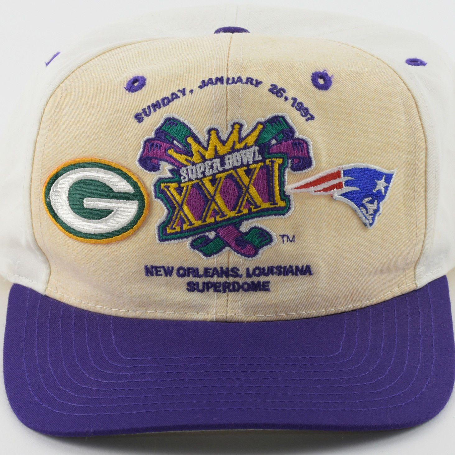 Vintage 1997 Super Bowl Xxxi New England Patriots Green Bay Packers Twill Snapback Hat Snapback Hats Patriots New England Patriots