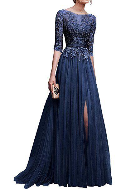 Babyonline Elegant Cocktailkleider Dunkel Blaue Spitzen Kleider Rundhals Brautjungfer Langes Abendkleider 36 Http Abendkleid Langarm Abendkleider Ballkleid